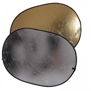 Светоотражатель 2в1 овальный золото-серебро 150х200 см Fotokvant R2-150200GS отражатель