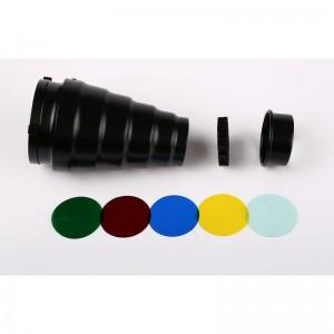 Узкоугольная насадка с цветными фильтрами, сотами байонет Bowens SNOOT-19BW