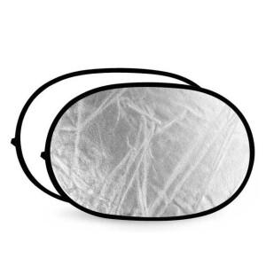 Светоотражатель 2в1 овальный серебро-белый 102х168 см Fotokvant R2-100170SW отражатель