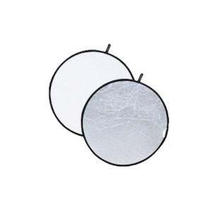 Светоотражатель 2в1 круглый белый-серебро диаметром 60 см Fotokvant R2-60SW