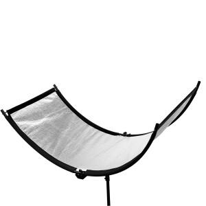 Светоотражатель полукруглый серебряный размером 60х150 см на каркасе Fotokvant RW-60150S