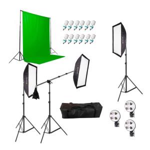 Комплект постоянного света люминесцентный 540Вт с журавлем и одним фоном Fotokvant FL-15 KIT