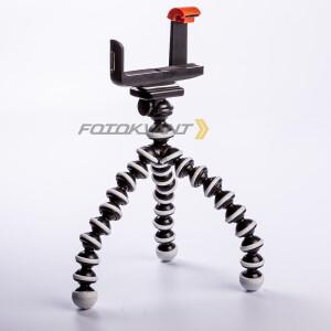 Мини-штатив с гибкими ножками Gorillapod 25 см и держателем смартфона для съемки горизонтального видео Fotokvant TM-06+SM-CL5