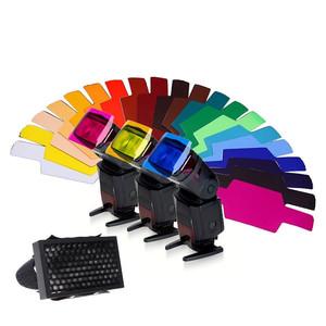 Комплект гелевых фильтров 20 шт. с сотовой насадкой для накамерных вспышек Canon/Nikon/Yongnuo/Nissin Fotokvant Strobo-1 KIT