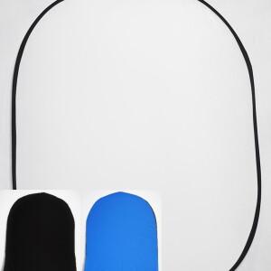 Фон 3в1 складной на каркасе 1,5 х 2м белый плюс черный/синий с пологом 1,2 м Fotokvant BG-1520-12 White Blue Black