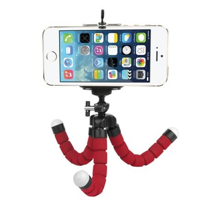 Мини-штатив на гибких ножках с держателем для смартфона красный Fotokvant TM-01 Red