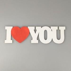 """Табличка """"I love you"""" 30x8 см белая с красным Fotokvant PRI-008"""