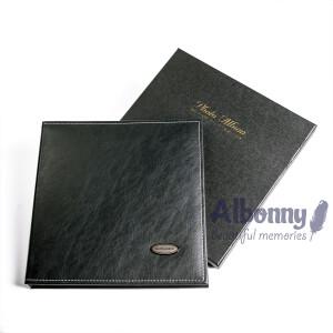 Фотоальбом кожаный в подарочной коробке черный 40 белых страниц Albonny AML-2732-40--B