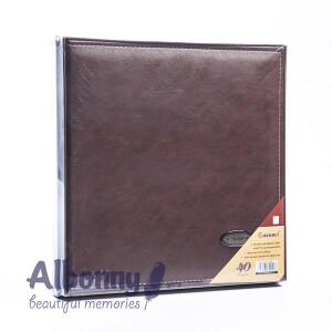 Фотоальбом кожаный в подарочной коробке темный шоколад 40 белых страниц Albonny AML-2732-40--D