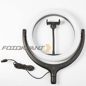 Кольцевой светодиодный осветитель USB 10Вт 2900-5600К Fotokvant LED F-539Z Black